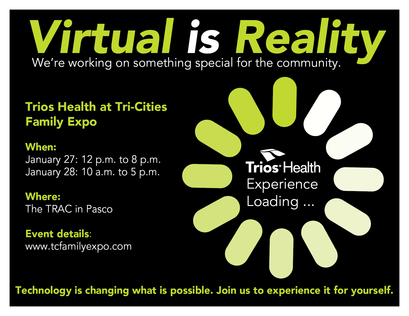 Trios health at tri cities family expo trios health technology is changing what is possible join us to experience it for yourself at the trios health exhibit at tri cities family expo solutioingenieria Choice Image